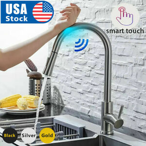 Automatic Touch Sensor Kitchen Faucet with Pull down Sprayer Stainless Steel