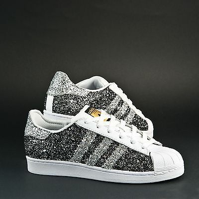 Shoes Adidas Superstar with Glitter Grey Charcoal & Silver Glitter | eBay