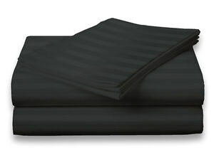 Twin-Size-Black-400-Thread-Count-100-Cotton-Sateen-Dobby-Stripe-Sheet-Set