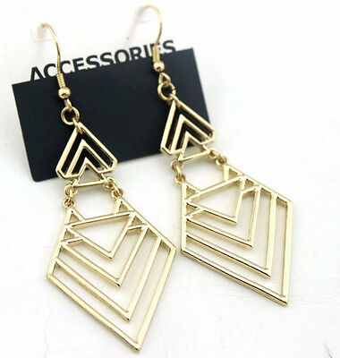 Fashion Bohemia Style Hollow Out Arrow Geometry Dangle Pendant Stud Earrings