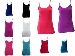 Women-039-s-Ladies-Soft-Stretch-Singlet-Cami-Top-T-Shirt-Basic-Plain-White-Black