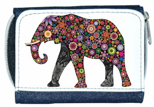 Beautiful Girl//Lady Denim Purse With Unusual Colourful Flower ELEPHANT