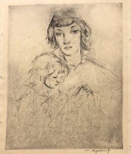 WILLIAM-MEYEROWITZ-1887-1981-JEWISH-JUDAICA-UNTITLED-ETCHING-MOTHER-amp-CHILD