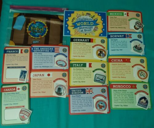 Lot of 11 Stickers /& 11 Cards w// Bag WDW Official Epcot Kidcot Countries Set