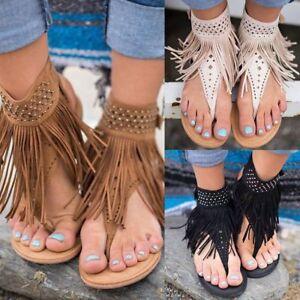 Women-Gladiator-Sandals-Thong-T-Strap-Tassel-Flat-Flip-Flops-Clip-Toe-Shoes-Size
