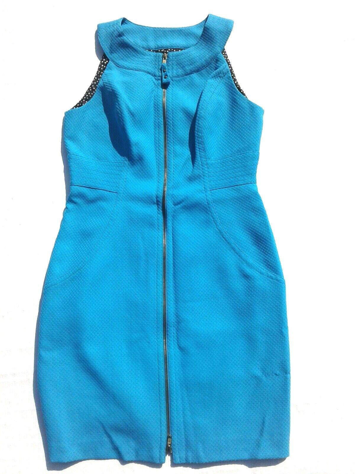 MAGGY L Sea bluee Front Zipper Sleeveless Textured Dress Size 12
