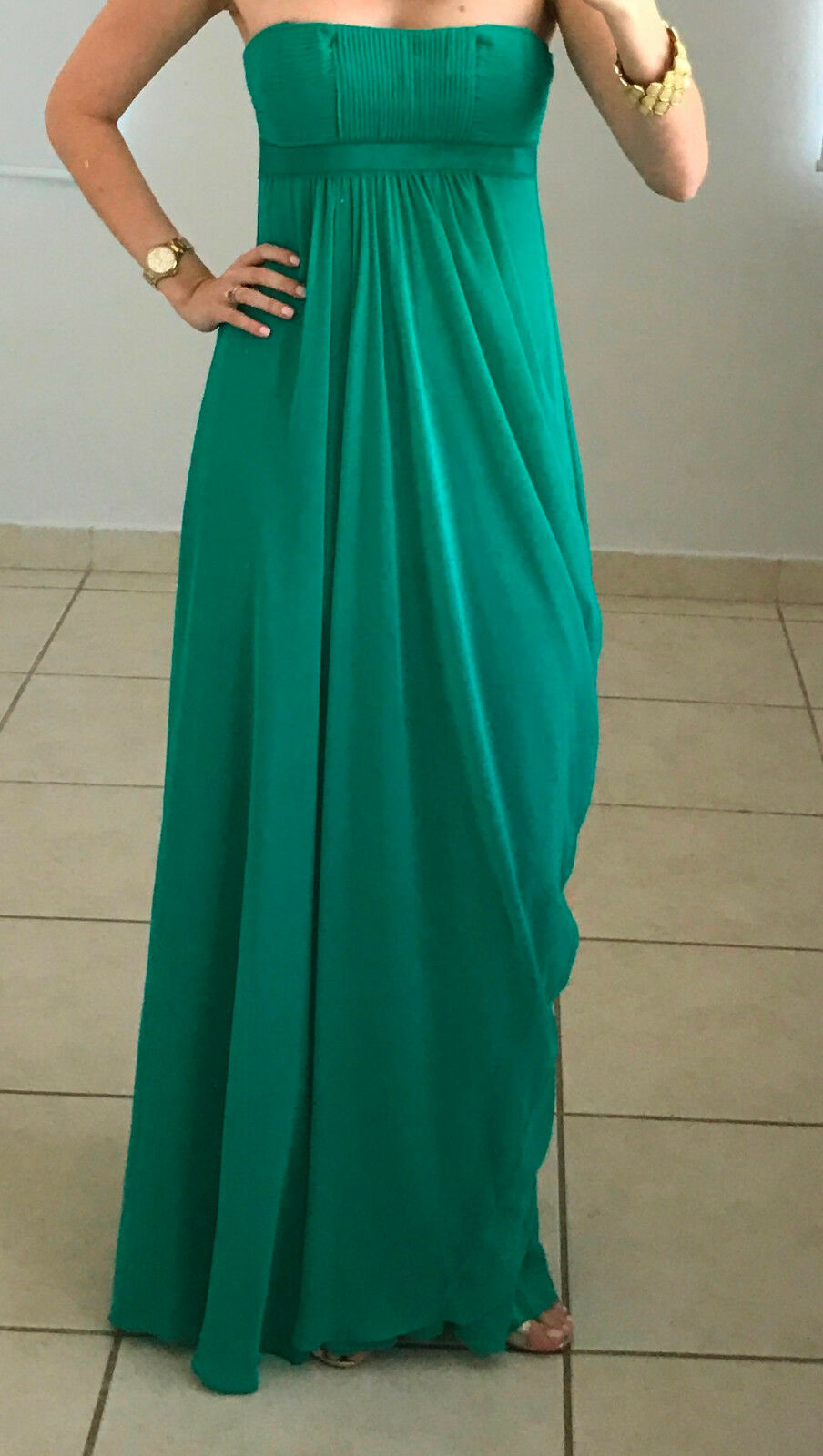 BCBG MAXAZRIA STRAPLESS LONG DRESS SEAGREEN SIZE 4