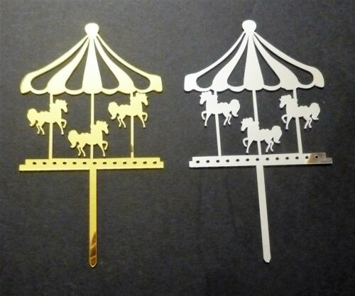Horses Carousel Acrylic Silver Gold Cake Topper Baby shower Baby Birthday Party