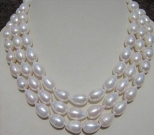 Véritable Naturel 7-9 mm AKOYA White Freshwater Pearl Necklace Long 54 in AAA environ 137.16 cm