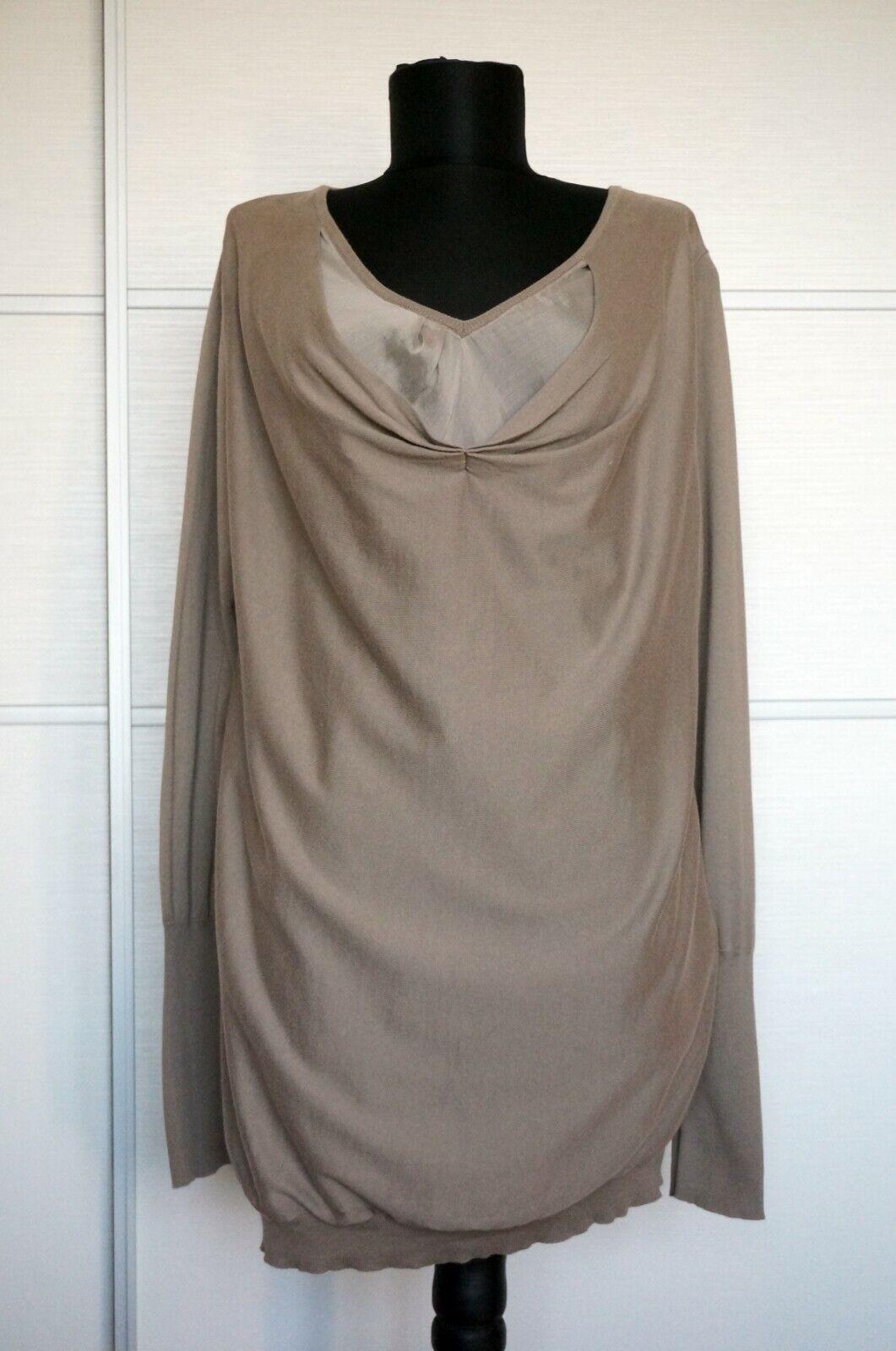 Brunello Cucinelli Beige Cotton+SIlk Blouse Tunic, Size XXL