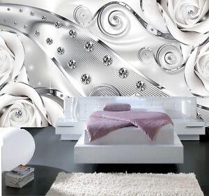 Details Sur Papier Peint 3dtrompe L Oeil Diamant Photo Murale Relief 3d Blanc Moderne