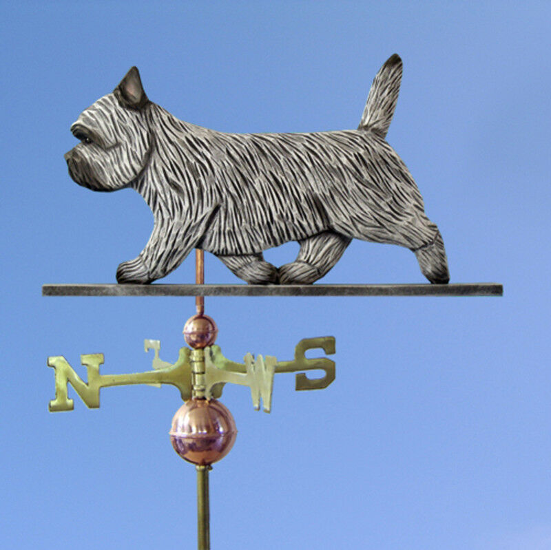 Cairn Terrier Hand Carved Hand Painted Basswood Dog Weathervane Light grau