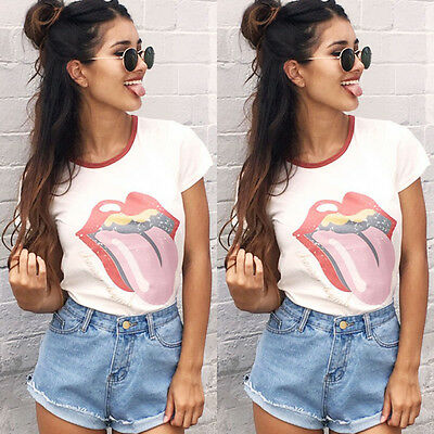 Womens Loose Shirt Blouse Ladies Casual Short Sleeve Cotton Tops