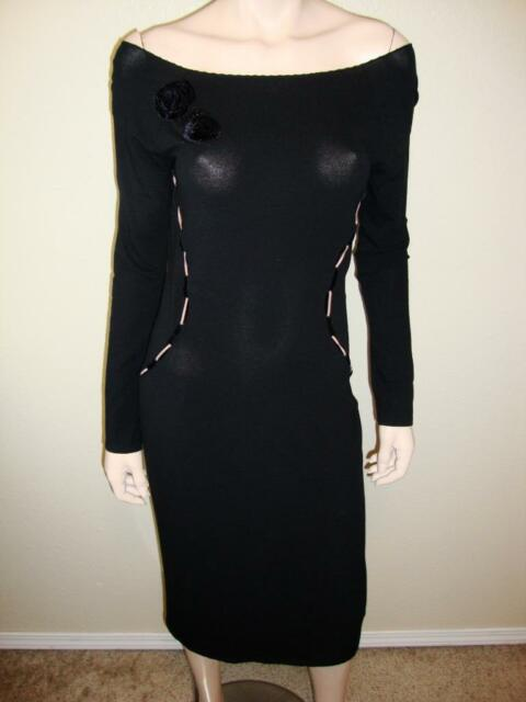 aae214e5fdf5 Blumarine Black Long Sleeve Fitted Off Shoulder Dress Detailed Trim Sz I40  S XS