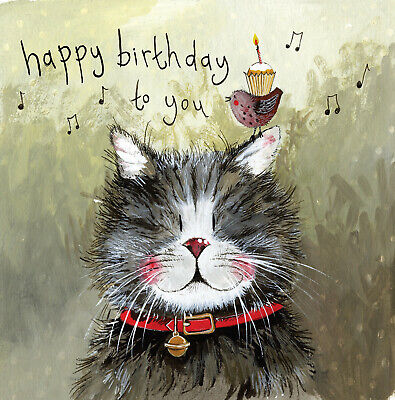 Klaus Cat Funny Greeting Card Alex Clark Humorous Birthday Greetings Cards Gift