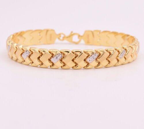 "7.25/"" X Design Diamond Cut Wheat Necklace 14K Yellow White Gold Clad Silver 925"