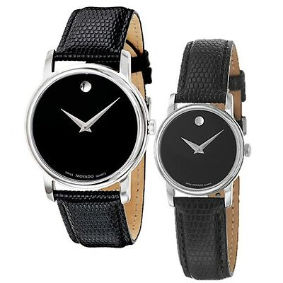 Movado Museum Black Dial Steel Black Leather Mens 2100002 / Womens 2100004 Watch