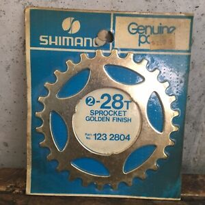 Vintage-Shimano-28t-Sprocket-Gold-28-Tooth-Freewheel-123-2804-NEW-NOS
