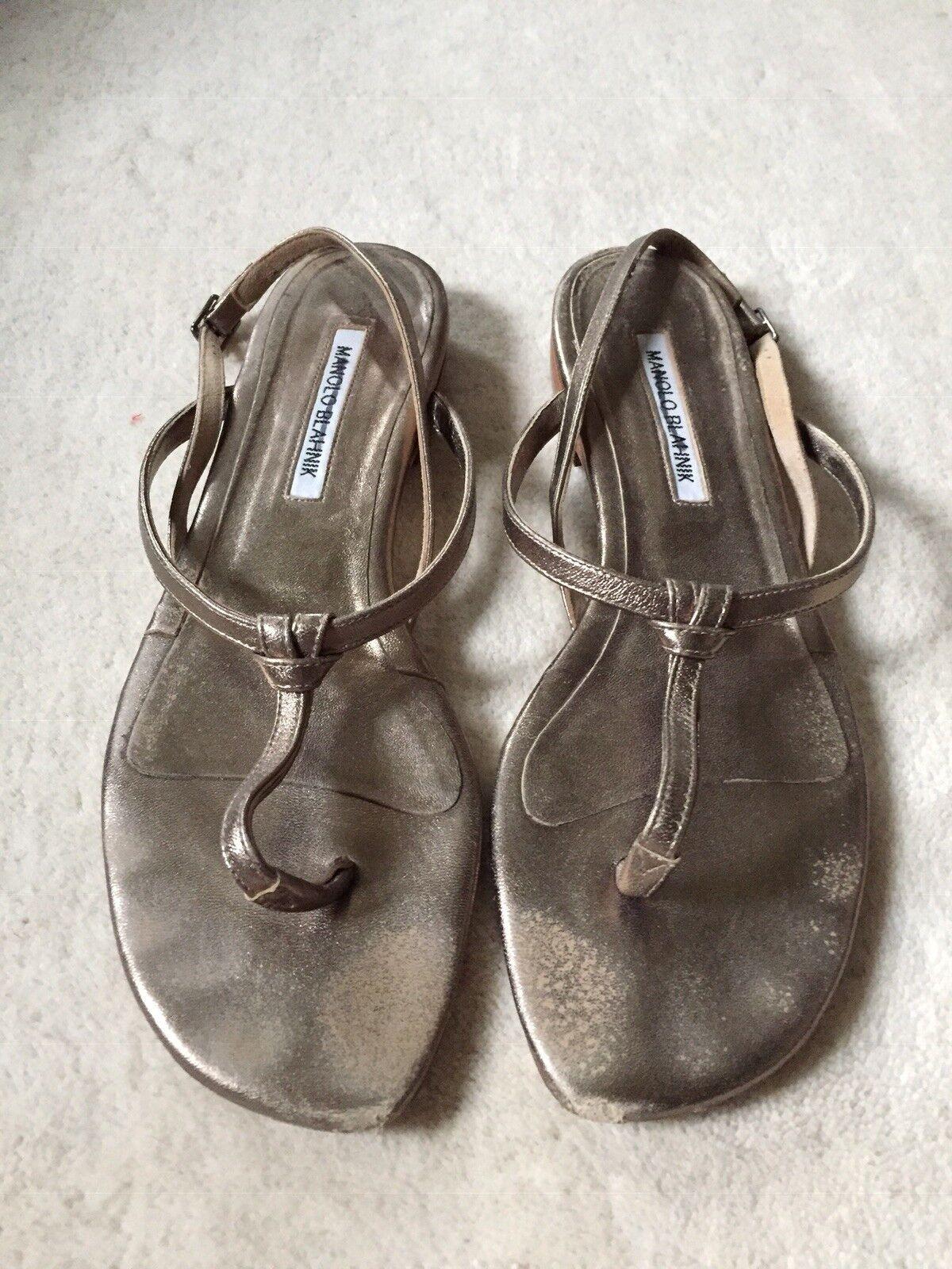 MANOLO BLANK Dark gold Metallic T- Strap Sandals Sandals Sandals  39.5 84d6f0