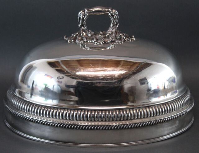 Antique Victorian-period Engraved Sheffield Silverplate Foot Meat Plate Cover NR