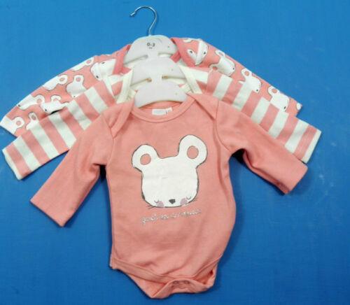 Ex Debenhams Girls Pink Mouse Cotton Vest Top 3 Pack Age 0 3 6 9 12 Months