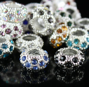 20pcs-Czech-Crystal-Silver-Large-Hole-Charm-Spacer-Beads-11mm-Fit-Bracelet