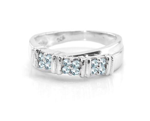 Blue Aquamarine Sterling Silver Ring Natural Gemstone Eternity Size 5-11