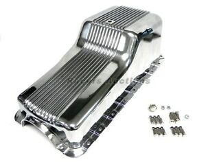 Ford-289-302-Aluminum-Oil-Pan-Front-Sump-Polished-Finned-Small-Block-Windsor-SBF