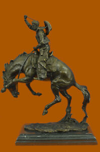 100-Pure-Genuine-Bronze-American-Old-West-Bronco-Buster-Bronze-Sculpture-Figure