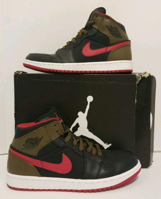 40f82cc3f942e NIKE AIR JORDAN 1 PHAT MID BLACK OLIVE RED MENS BASKETBALL SHOES Nike SIZE  10