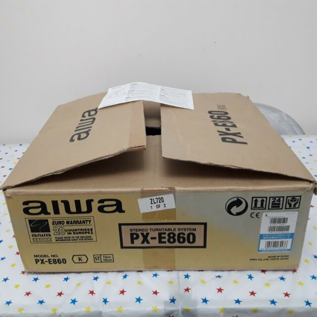 AIWA PX-E860 STEREO TURNTABLE SYSTEM - BOXED - NEVER USED + INSTRUCTION SHEET