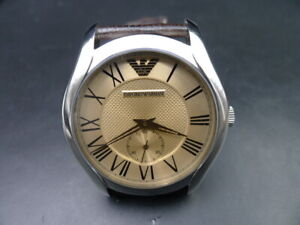 New-Old-Stock-EMPORIO-ARMANI-AR9110M-Leather-Strap-Quartz-Men-Watch