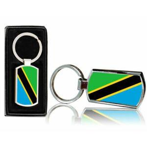 Tanzania-Bandera-Del-Pais-Estampado-Cromado-Metal-Llavero-Con-Regalo-Caja-0174