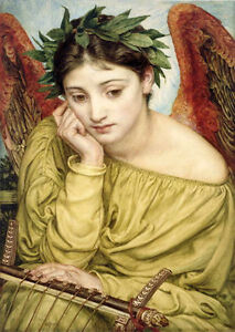Oil Painting Edward John Poynter Nice Young Angel Girl Seated In