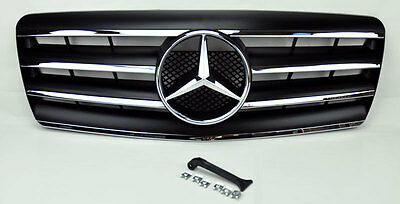 4 Fin Front Hood Sport Black Grill Grille for Mercedes S Class W140 92-99