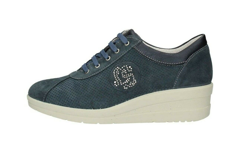 Schuh Striche Damen 106401 Col Jeans Wildleder Bequem Leicht Made in