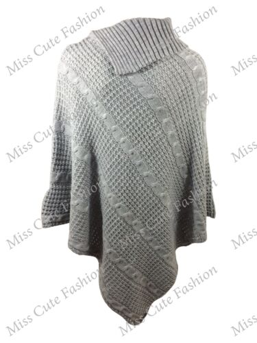 NEW WOMENS LADIES PONCHO CABLE KNITTED 3 BUTTON CAPE WARM WINTER JUMPER CARDIGAN