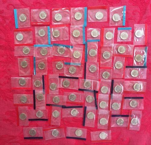 D BU Roosevelt Dimes Mint Cello Set 60 Coins Free Ship 1968-1981 1984-1999 P
