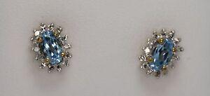 AQUA-amp-DIAMOND-cluster-EARRINGS-60ct-AQUA-11ct-DIA-Hatton-garden-made-9ct