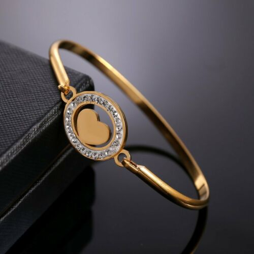 Fashion Crystal Stainless Steel Gold Heart Bangle Bracelets Women Jewelry Gifts