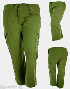 New-Size-10-12-14-Womens-D-ring-Combat-Trousers-Green-Light-Weight-LICK