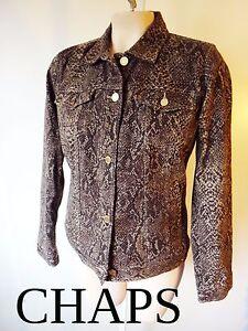 Lauren Snake Denim Ralph Print Taglia Chaps M Stretch media Jacket Cotton Skin qHwtPF