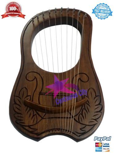 CC New Lyre Harp Rosewood Engraved 10 Metal Strings//Lyra Harp Strings//lyre Harps