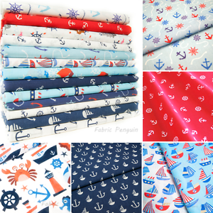 Anchors-Fabric-Boats-Anchor-Nautical-Metre-Children-039-s-Kids-Nursery-Polycotton