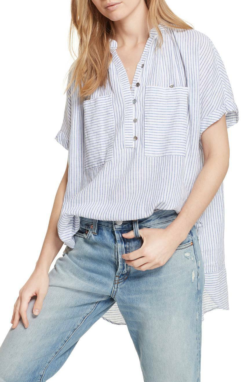 NWT Free People For Keeps Linen Blend Top Retail