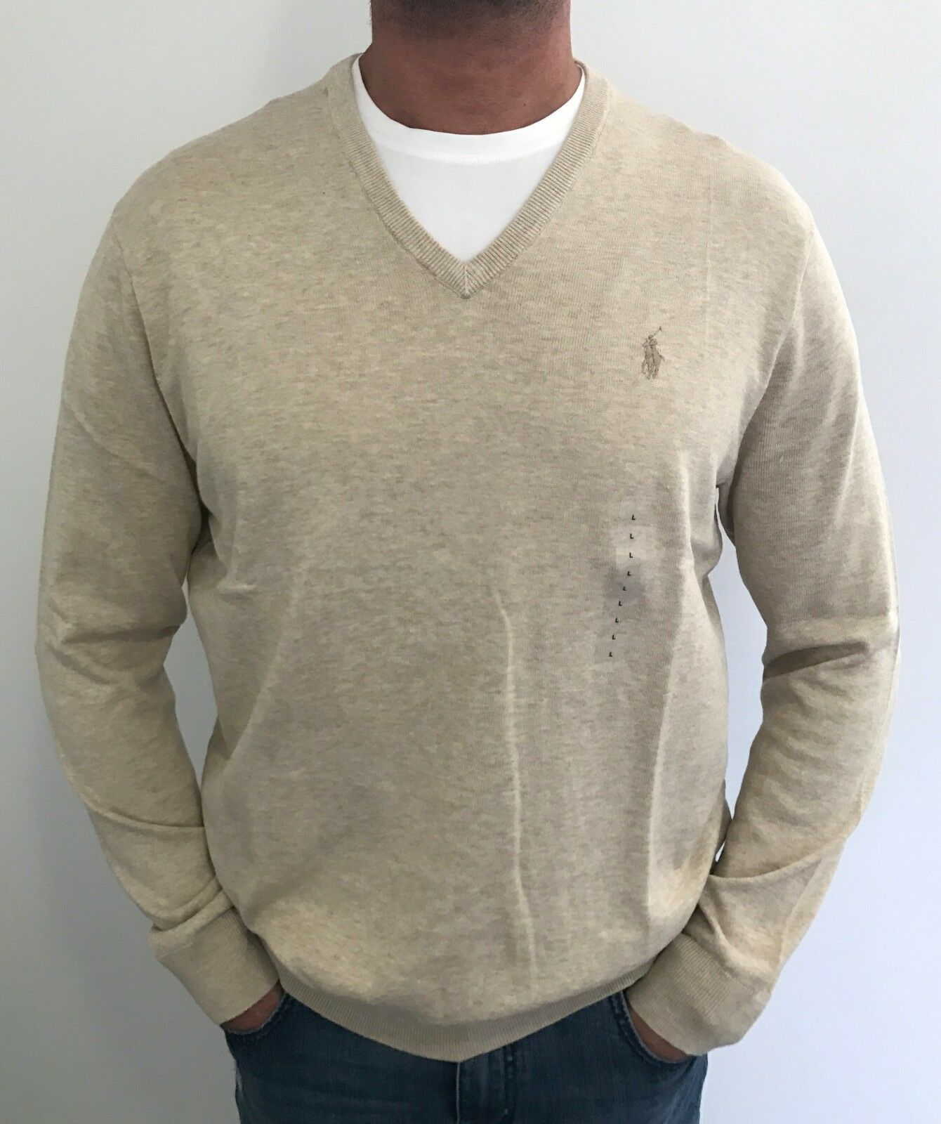 100% AUTHENTIC  Herren POLO RALPH LAUREN  PIMA COTTON KNIT SWEATER / JUMPER BEIGE L
