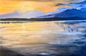 Sunset, oil painting on canvas,original, landscape, Sea View,Impressionism
