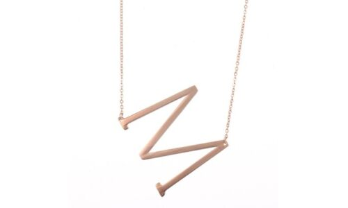 """18K Rose Gold Plated Sideways Initial /""""M/"""" Necklace by Diane Lo/'ren"""