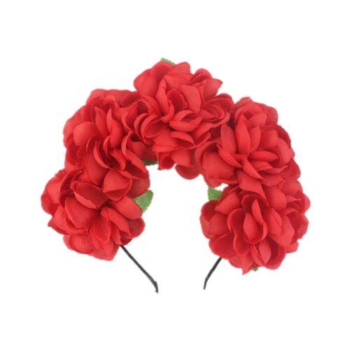 Rose Flowers Garland Headband Hair Band Halloween Festival Holiday Headwear