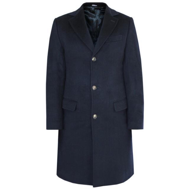 TONANTE x LORO PIANA dark blue soft virgin wool slim fitted winter top coat 48/S